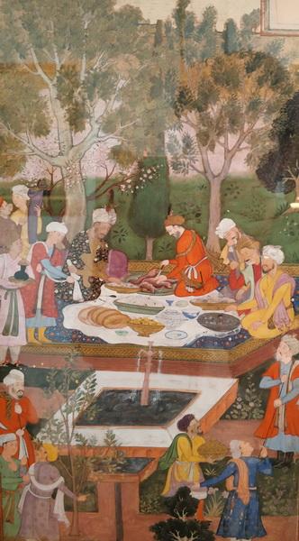 Неизвестный художник. Пир Бабура в саду Дженан-Ара в Герате. Миниатюра из рукописи «Бабур-наме». Северная Индия. Конец 16 в.