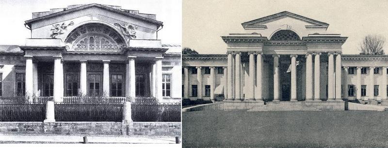 Слева - Дом Н.С.Гагарина. Фото 1930.  Справа - Особняк Половцева. Фото 1913.