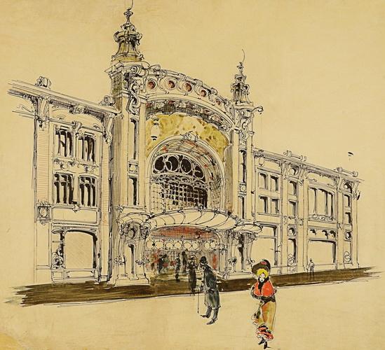 И. А. Иванов-Щиц. В.Ф. Валькот. Предположительно проект театра в доме В. Н. Гирш. Проект фасада. 1899 г. Не осуществлен.