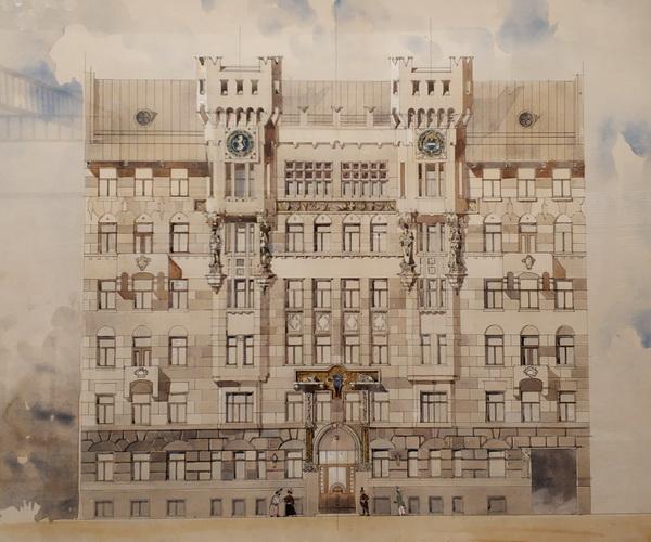 В.Е.Дубовской. Проект шестиэтажного доходного дома с двумя башенками-эркерами. 1900-е г. Не осуществлен.