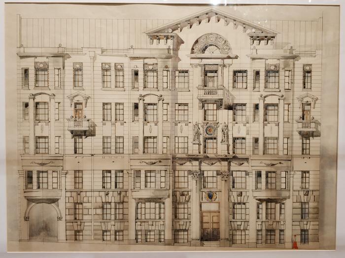 В.Е.Дубовской. Проект шестиэтажного доходного дома. 1900-е г. Не осуществлен.