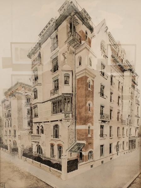 Гимар Эктор. Доходный дом «Замок Беранже». Общий вид угловой части здания. Из альбома «Замок Беранже». 1898 г.