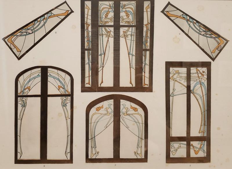 Гимар Эктор. Доходный дом «Замок Беранже». Витражные окна и вставки. Из альбома «Замок Беранже». 1898 г.