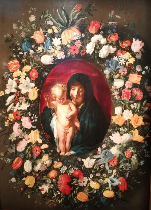 Якоб Йорданс, Андрис Даниельс. Мадонна с Младенцем в венке из цветов. Около 1618-1618. ГЭ.