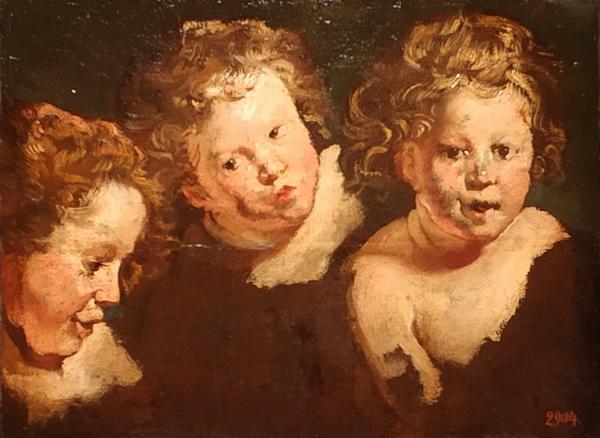Якоб Йорданс. Три этюда детской головки. 1618-1620. Холст (перевод с бумаги), масло. ГЭ.