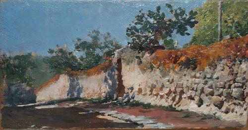 Мариано Фортуни. Дорога вдоль стены. Около 1858-1862. Дерево, масло. Собрание Виды-Муньос, Альмерия.