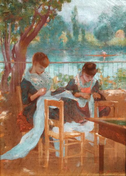 Адольфо Гиард. Белошвейки в парке. 1884-1885. Холст, масло. Корпоративная коллекция Ибердрола, Бильбао.