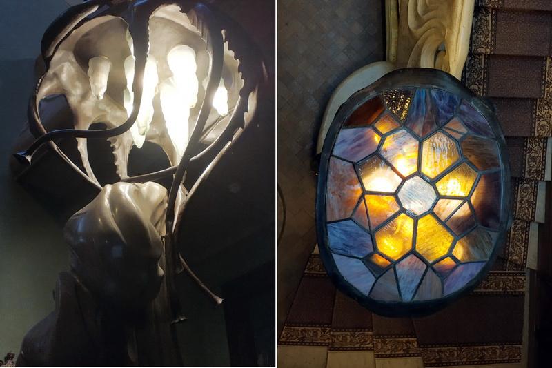 Светильник – медуза с панцирем черепахи.