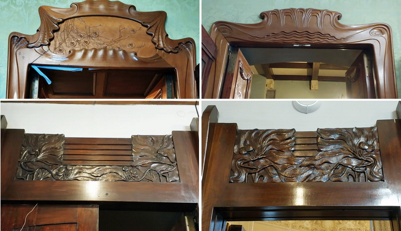 Рамы дверей особняка Рябушинских: вверху – в Библиотеке и Холле, снизу – в Кабинете.