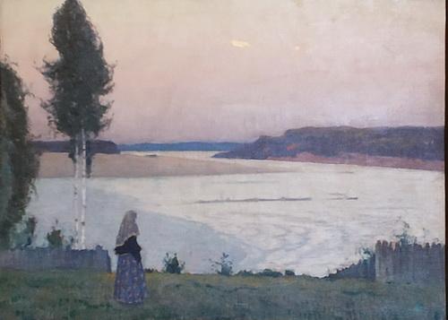 М.Нестеров. Вечер на Волге (Одиночество). 1932. Холст, масло.