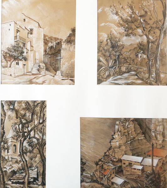 В.М.Ходасевич. Сорренто. Виды в окрестности виллы «Иль Сорито». 1928. Бумага, карандаш, мел.