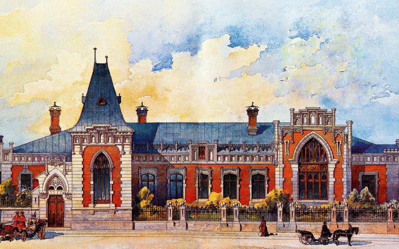 К.К.Гиппиус. Главный фасад особняка А.А.Бахрушина. 1896. Акварель.