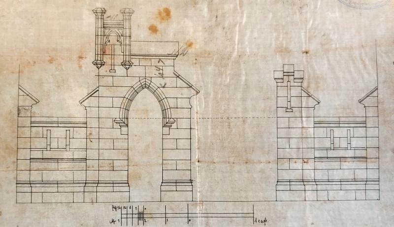 К.К.Гиппиус. Въездные ворота с калиткой особняка А. А. Бахрушина. 1896-1897.