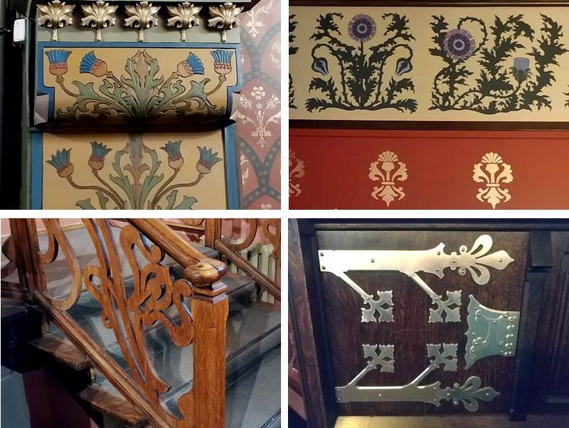 Элементы декора в виде цветов чертополоха в интерьерах особняка Бахрушина.