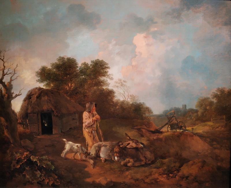 Томас Гейнсборо. Лесной пейзаж со старым крестьянином и ослами у сарая, с сошником и церковью вдали. Около 1755-1757. Холст, масло. Дом-музей Гейнсборо, Саффолк.