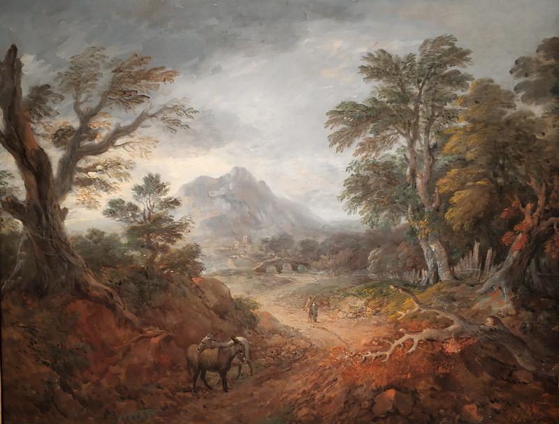 Томас Гейнсборо. Лесной пейзаж с фигурами, мостом, ослами, горой и зданиями вдали. Около 1763-1767. Холст, масло. Дом-музей Гейнсборо, Саффолк. Передано на хранение из частной коллекции.