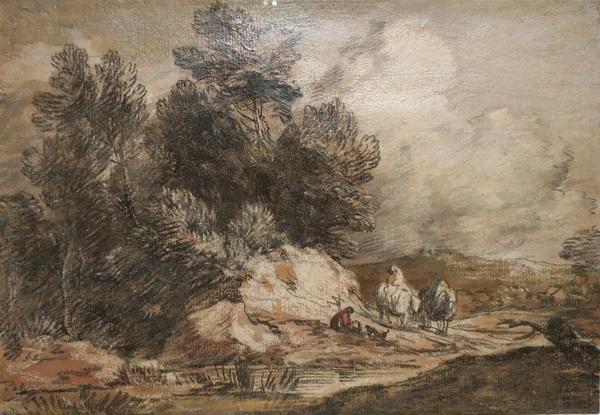 Томас Гейнсборо. Лесной пейзаж с путешественниками. Около 1778. Бумага, мел, лак. Дом-музей Гейнсборо, Саффолк.