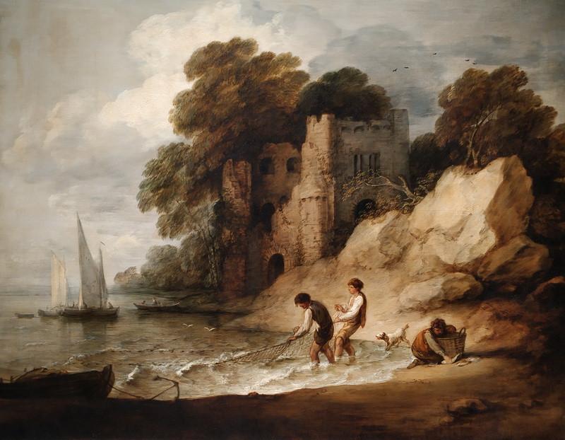 Томас Гейнсборо. Скалистое побережье с развалинами замка и рыбаками. 1780-1781. Холст, масло. Коллекция национального фонда, аббатство Энглси, Кембриджшир.