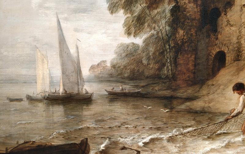 Томас Гейнсборо. Скалистое побережье с развалинами замка и рыбаками. Фрагмент.