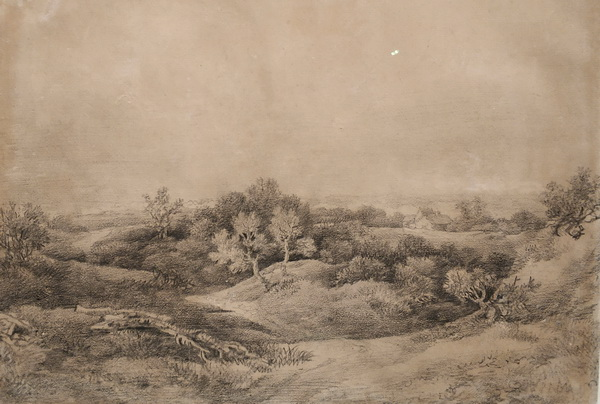 Томас Гейнсборо. Лесной пейзаж с деревенской дорогой. Набросок. Около 1782. Бумага, мел. Дом-музей Гейнсборо, Саффолк.