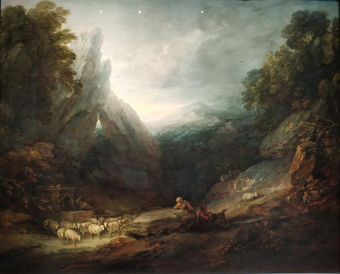 Томас Гейнсборо. Романтический пейзаж с овцами у источника. Около 1783. Холст, масло. Королевская академия художеств, Лондон.