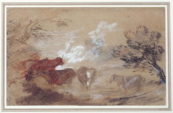 Томас Гейнсборо. Пейзаж с четырьмя коровами у водоема. 1785. Бумага, мел, карандаш. Дом-музей Гейнсборо, Саффолк.