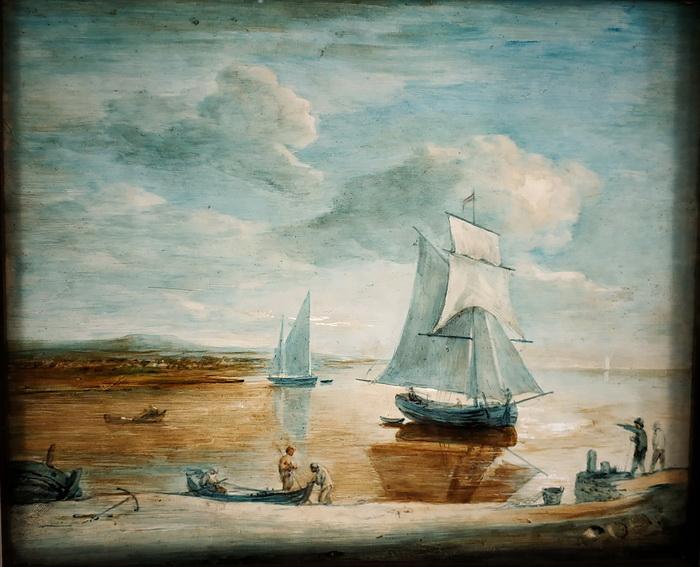 Томас Гейнсборо. Прибрежная сцена с парусными и весельными лодками и фигурами.  Около 1781-1782. Стеклянные пластины, масло. Музей Виктории и Альберта, Лондон.