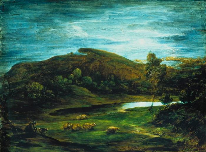 Томас Гейнсборо. Пейзаж с пастухом и стадом на фоне озера и холмов. Около 1781-1782. Стеклянные пластины, масло. Музей Виктории и Альберта, Лондон.