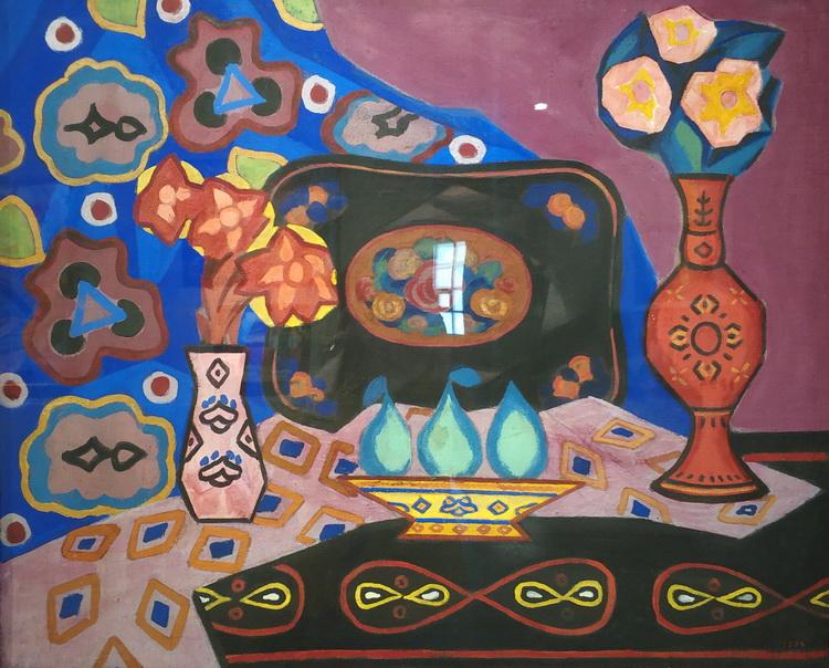 Иосиф Школьник. Натюрморт с вазами. 1912.  Холст, клеевая краска. ГРМ.