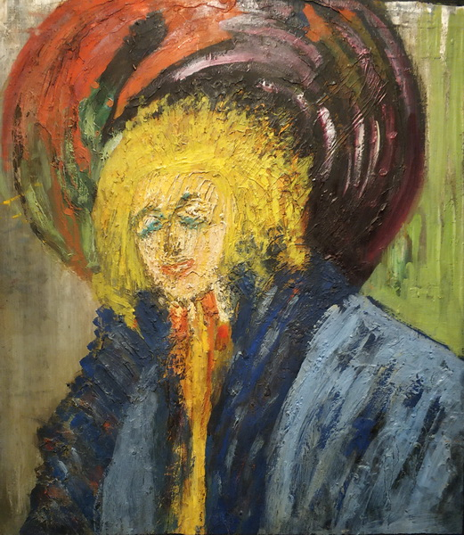 Эдуард Спандиков.  Дама в шляпе. Середина 1910-х. Картон, масло. ГРМ.