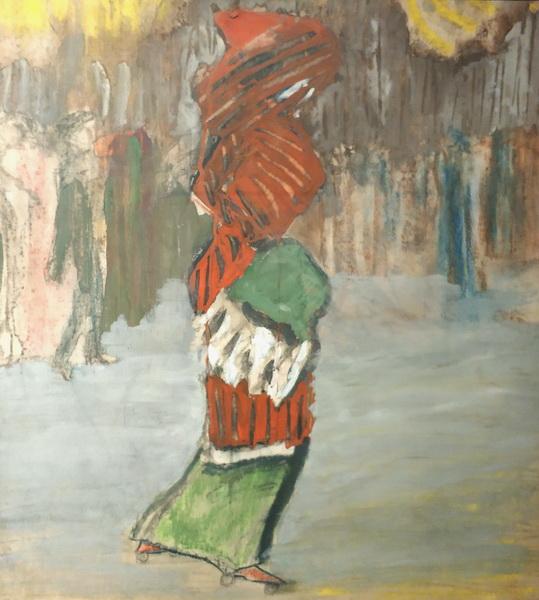 Эдуард Спандиков. Скэтинг (Дама с муфтой). 1910-1911. Картон, пастель, темпера, графит, гуашь. ГРМ.