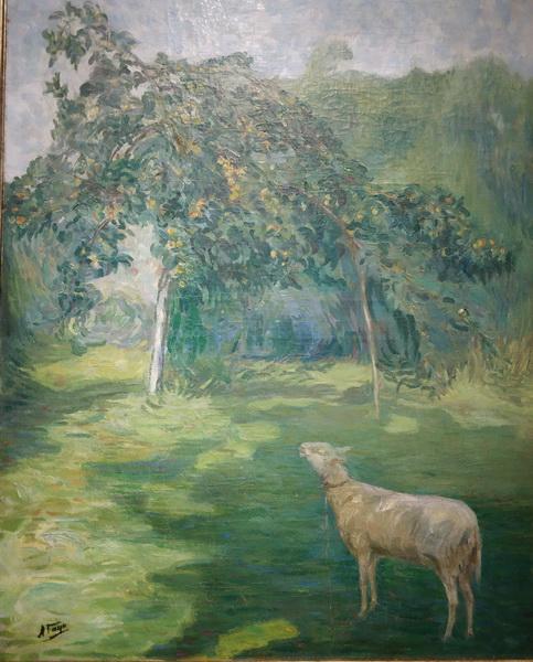 Александр Гауш. Пейзаж с овечкой. 1910-е. Холст, масло. Собрание Георгия Смирнова, Москва.