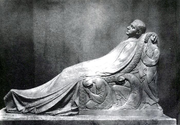 Н.А. Андреев. Модель статуи Н.Л. Тарасова для его надгробия. Около 1911 г. Гипс. Не сохранилась.