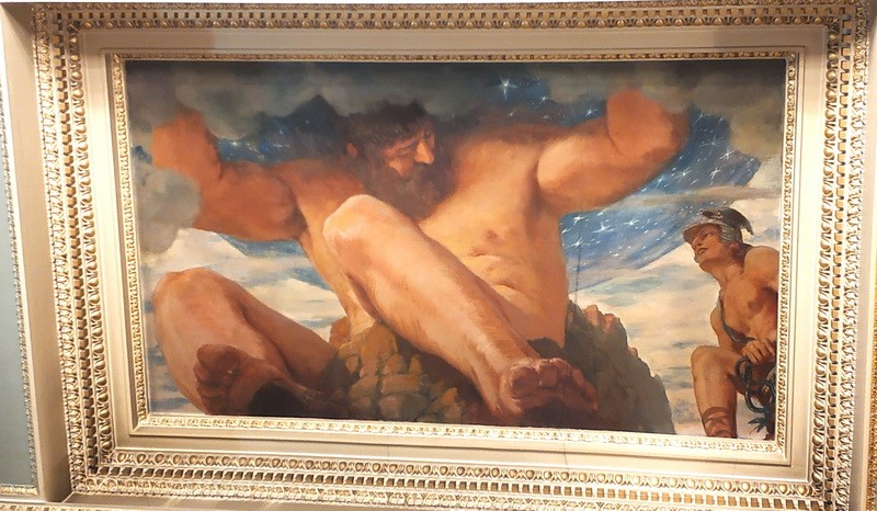 Персей наказывает Атланта за отказ в гостеприимстве. Он превратил Атласа в гору, поддерживающую весь небесный свод.