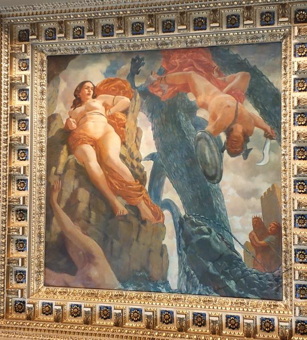 Персей спасает Андромеду от морского чудовища.
