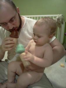 feeding daddy ice cream