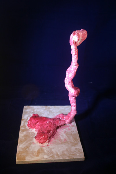 pink wireform and plaster sculpture