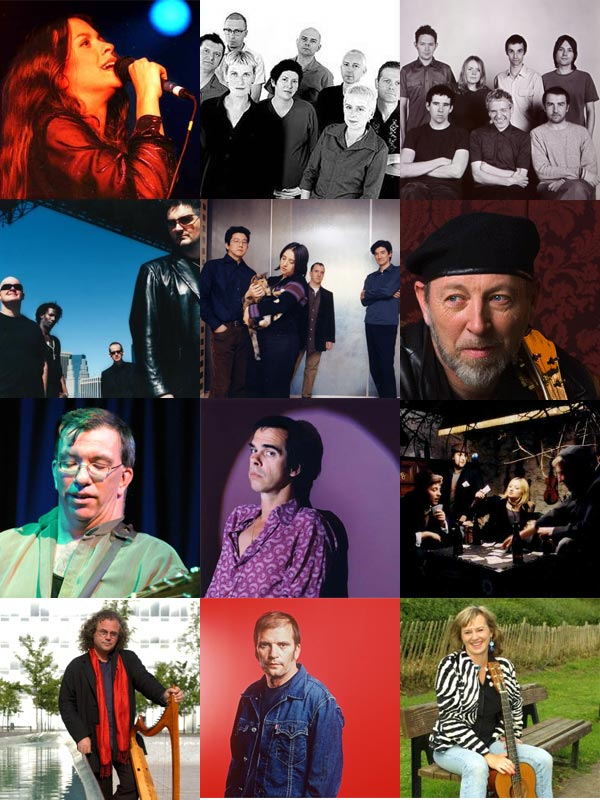 collage of 12 pictures of artists