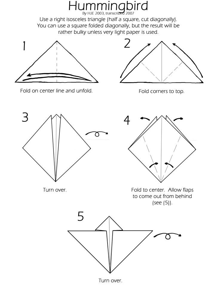 Hummingbird Instructions Origami Aficionados