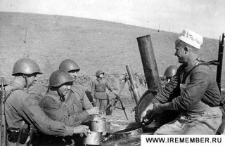 миномет, кухня, самовар, война, солдат