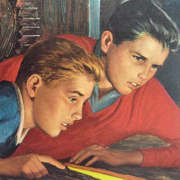Братья Харди — дети-детективы, о которых написано 390 книг. Иллюстрация с обложки «The Secret of the old mill» (1962)