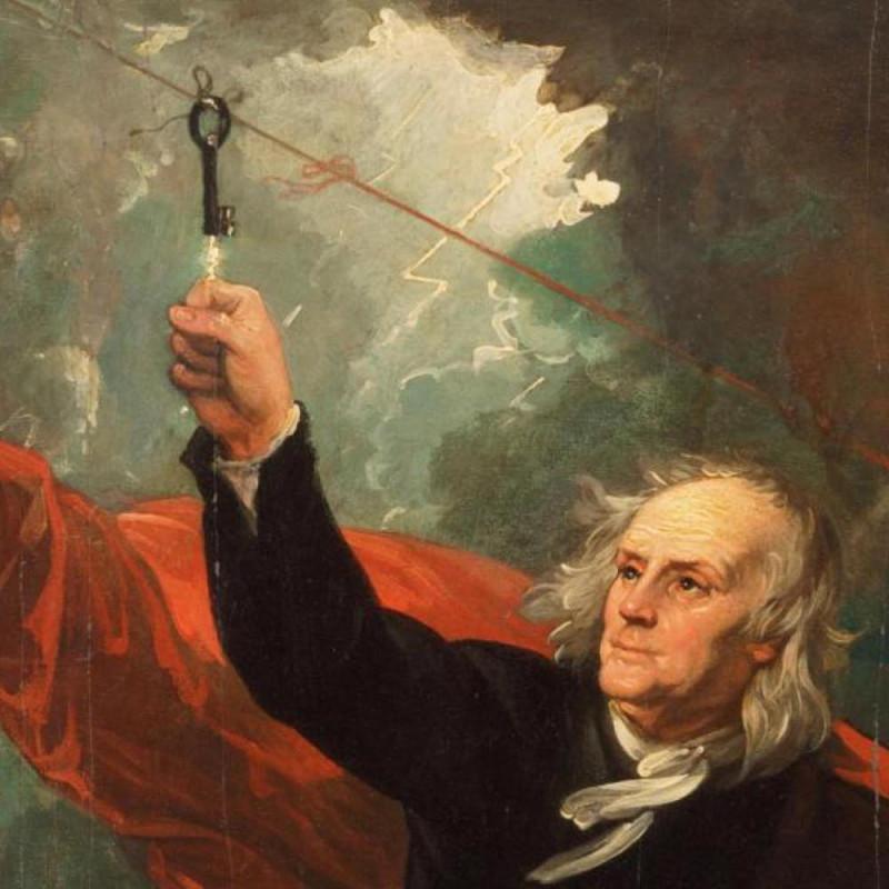 Франклин ставит опыты с молнией во время грозы. Источник: fi.edu/benjamin-franklin/kite-key-experiment
