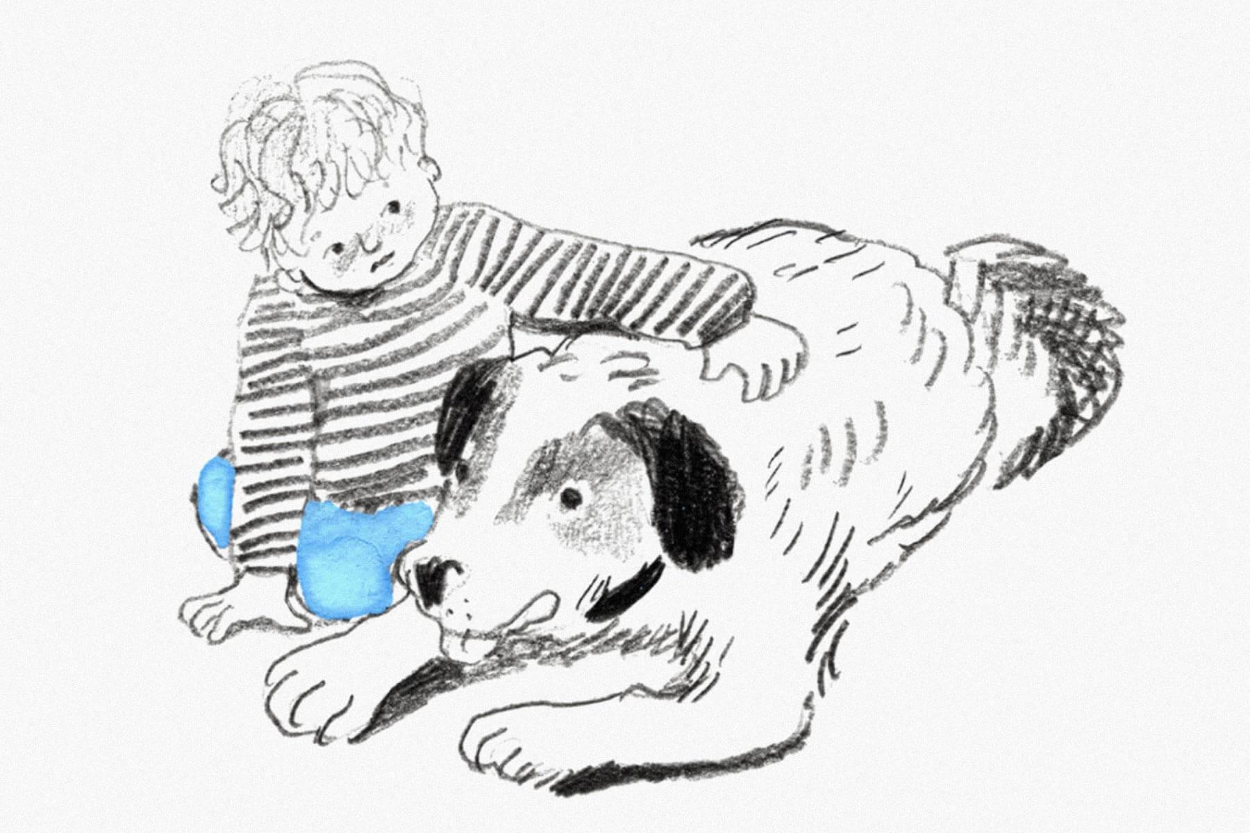 Восьмилетний мальчик Франц с Бертой из сборника Кристине Нёстлингер «Рассказы про Франца и собаку». Художник Е. Толстая