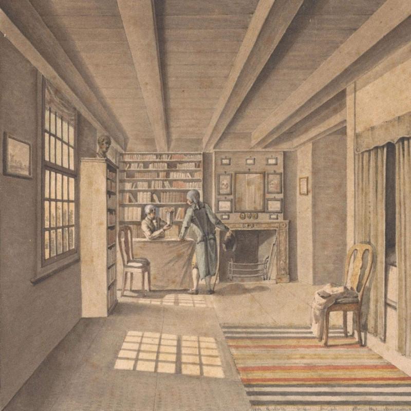 Книготорговец в книжном магазине. Неизвестный художник. Амстердам, 1850. Источник: etoretro.ru