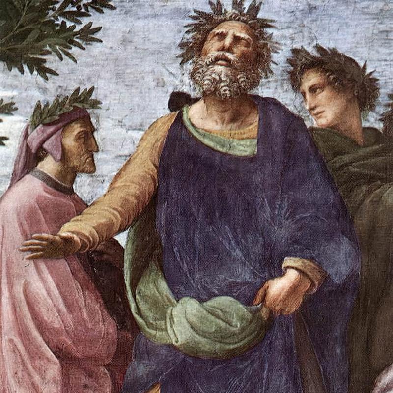 Ключевые фигуры в западном каноне Данте, Гомер и Вергилий на фреске Рафаэля Санти «Парнас» / wikipedia.org