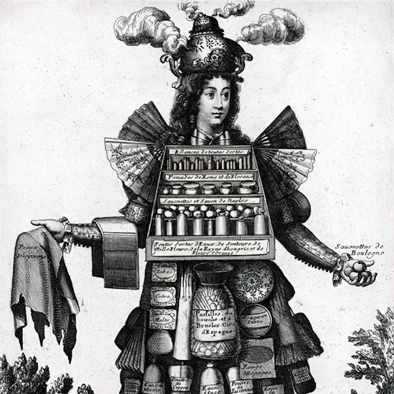Костюм парфюмера, ок. 1700. Неизвестный автор. Национальная библиотека Франции / BnF Gallica. Иллюстрация из книги Робера Мюшембле «Цивилизация запахов»