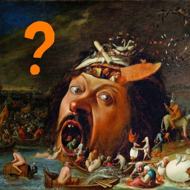 Для коллажа использован фрагмент картины Йоса ван Крэсбека «Искушение святого Антония», 1650. Государственный художественный музей в Карлсруэ, Германия