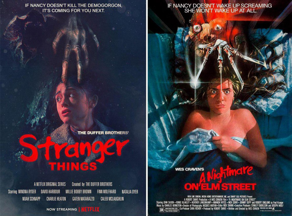 Постеры к сериалу «Очень странные дела» копируют культовые афиши фильмов ужасов разных лет. Справа — афиша фильма «Кошмар на улице Вязов», 1984 год