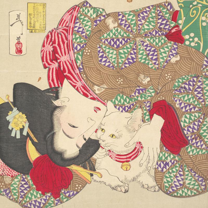 «Игра с котом», 1888. Цукиока Ёситоси