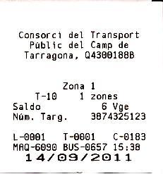 Билет на общественный автобус в Салоу